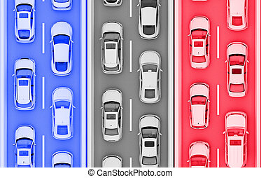 stripes with cars in the color of the flag of France