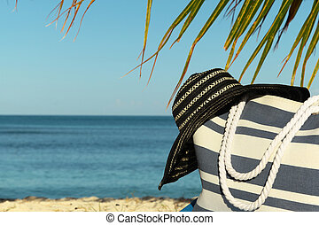 stripey beach bag and hat