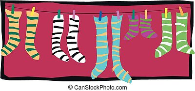 Stripey socks - Several pairs of striped socks on a wasing ...