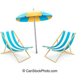 stripped deck-chair with umbrella beach inventory. isolated ...