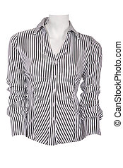 Stripped female blouse isolated on white