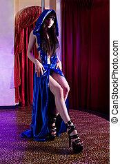 stripper, m�dchen, stange, tanzen, in, kostüm