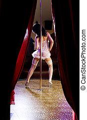 stripper, m�dchen, stange, tanzen, in, krankenschwester, kostüm