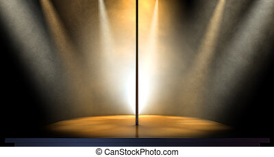 Stripper Pole Spotlit - An isolated stripper pole on a stage...