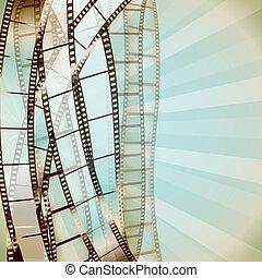strips., kino, wektor, retro, tło, film