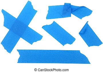 Strips of Blue Paint or Masking Tape - strips of blue...