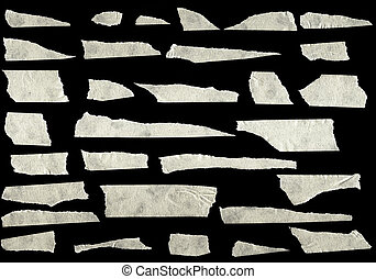 Strips of masking tape isolated on black background