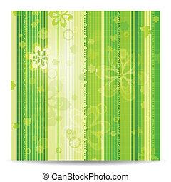 Stripy floral green spring background