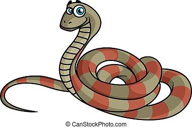 strisce, cartone animato, serpente