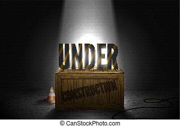 strisce, testo, standing, su, il, scatola legno, in, uno, luminoso, trave, di, limelights, su, uno, muro di mattoni, grunge, nero, fondo., vettore, illustrazione, di, web, errore, 404, pagina, non, fondare, in, riflettori, glow.