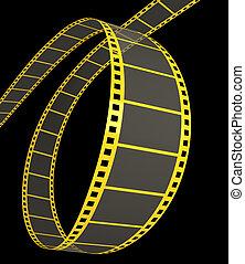 striscia, film, nero, 3d