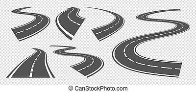 striscia, guida, asfalto, vettore, o, turno, piegatura, roads., prospettiva, strada, strade, autostrada, set, pathway., curva, grigio