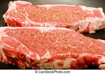 striscia, seasoned, due, bistecche