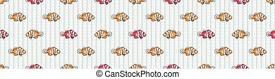 striscia, tile., print., fondo, disegnato, carino, fauna, oceano, cartone animato, seamless, marino, border., illustration., sopra, clownfish, mano, vettore, tutto, sealife, fish, tropicale, sottomarino
