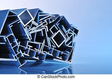 striscie, alluminio, sezionale