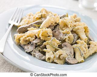 striscie, senape, manzo, saggio, filetto, grano, salsa pasta, campanelle