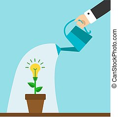 strive for business success - hand holding a watering can...
