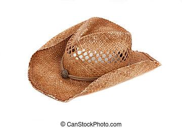 stro, cowboy hoed, op wit