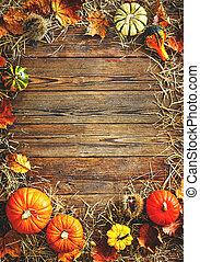 stro, dankzegging, gourds, achtergrond, oogsten, of