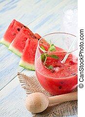 stro, glas, gemengd, ijs, meloen