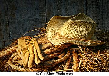 stro hoed, met, handschoenen, op, een, baal van hay