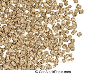 stro, pellets, op wit, achtergrond