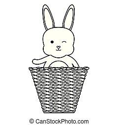 stro, schattig, weinig; niet zo(veel), mand, konijn