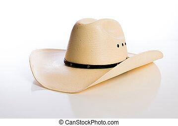 stroh, cowboyhut, weiß, hintergrund