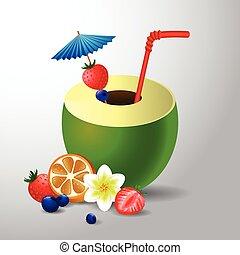 exotische kokosnuss cocktail exotische kokosnu vektor clipart suchen sie. Black Bedroom Furniture Sets. Home Design Ideas
