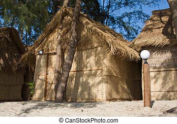 stroh, haus, auf, a, sandstrand, in, cambodscha