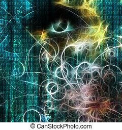 stroj, dvojitý, a, lidský, jako, tvář