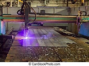 stroj, jako, moderní, automatický, plazma, laser, výstřižek, o, kovi, plazma, výstřižek, s, laser, a, laser, provozní