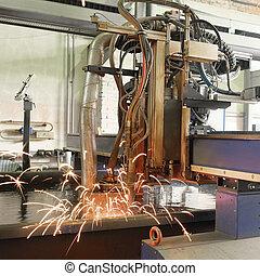 stroj, jako, ta, laser, výstřižek, kov, do, namočit