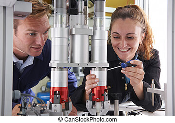 stroj, učedník, továrna, pracovní, inženýr