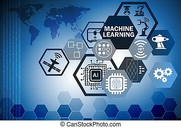 stroj, učenost, počítací, pojem, o, moderní, ono technika