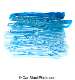 stroke blue paint brush color water watercolor isolated on white background