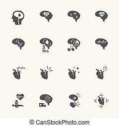 stroke disease icons set