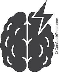 Stroke glyph icon. Cerebral hemorrhage silhouette symbol. ...