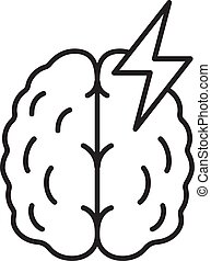 Stroke linear icon. Thin line illustration. Human brain. ...