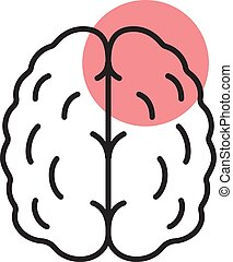 Stroke linear icon. Thin line illustration. Human brain with...
