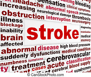 Stroke medical warning message. Neurological disease word clouds background
