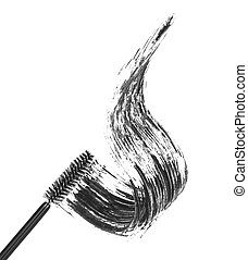 Stroke of black mascara with applicator brush, isolated on ...