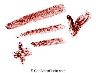 Stroke of eye shadow pencil, isolated on white macro