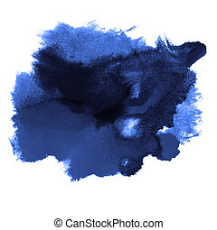stroke paint blue splatters color watercolor abstract water brush watercolour texture ink painting isolated