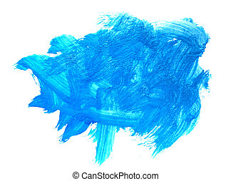 stroke paint brush color water watercolor blue isolated on white background