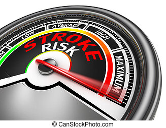stroke risk conceptual meter indicate maximum, isolated on...