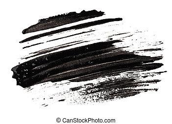 Stroke (sample) of black mascara, isolated on white macro
