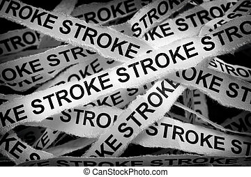 Strips of paper with the word Stroke