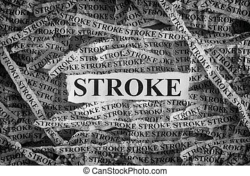 Stroke. Torn pieces of paper with the word Stroke