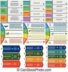 stroken, kleurrijke, 3, set, infographics, 5, posities, 4